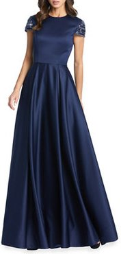 Embellished Cap-Sleeve Pleated Satin Gown