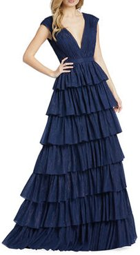 Plunging Tiered Ruffle A-Line Gown