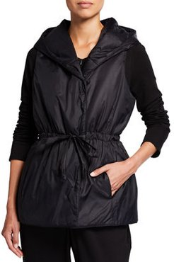 Plus Size Recycled Nylon Hooded Vest
