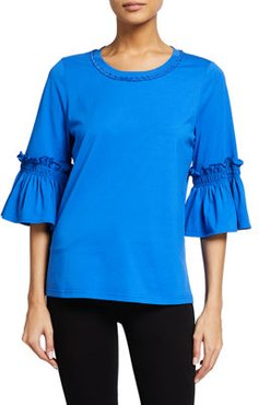 Colie Bell-Sleeve Jersey Top