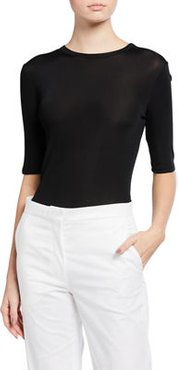 Ribbed Elbow-Sleeve Top