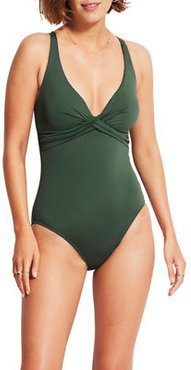Wrap-Front Solid One-Piece Swimsuit (DD Cup)