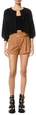 Adelina Belted Pleated-Front Shorts