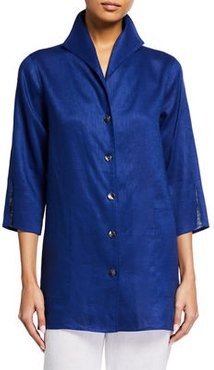 Tissue Linen 3/4-Sleeve Button Down Gallery Shirt