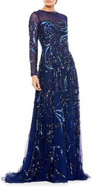Long-Sleeve Beaded A-Line Gown