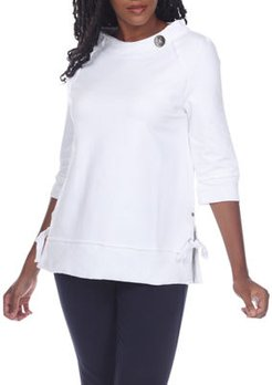 Crusing 3/4-Sleeve Side-Tie Cotton Top