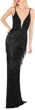 Plunging-Neck Beaded Fringed Gown