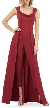 Anais Stretch Crepe Jumpsuit with Skirt Overlay
