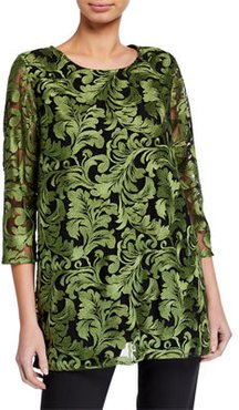 Flourish Embroidery 3/4-Sleeve Lined Tunic