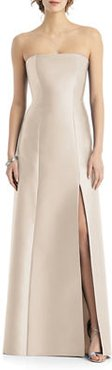 Strapless Sateen Twill Gown with Slit