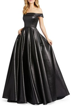 Off-the-Shoulder Metallic Ball Gown with Pockets