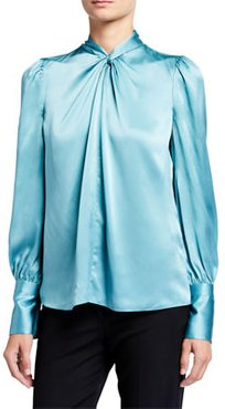 Bali Long-Sleeve Twist-Neck Silk Shirt