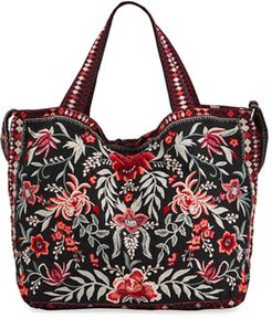 Tayshia Floral Embroidered Linen Tote Bag