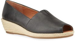 Lydia Perforated Leather Wedge Espadrilles