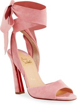 Rose Amelie Ankle-Wrap Red Sole Sandals