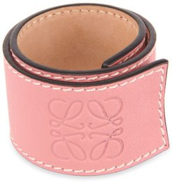 Small Leather Slap Bracelet, Pink