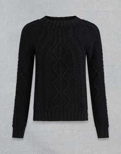 SCOTTISH CABLE CREW NECK JUMPER Black