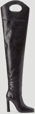 High Knee Boots in Black | LN-CC female Black 100% Leather.44034