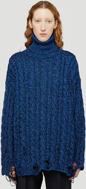 Metallic Cable-Knit Sweater in Blue | LN-CC female Blue 100% Textile. Dry clean.43027