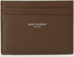 Logo Print Card Holder in Brown | LN-CC male Brown 100% Leather.45038