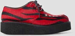 Zebra Flatform Creeper Lace-Up Shoes  LN-CC female Red 100% Leather. 100% Rubber45025