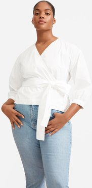 Poplin Wrap Top Shirt by Everlane in White, Size 00