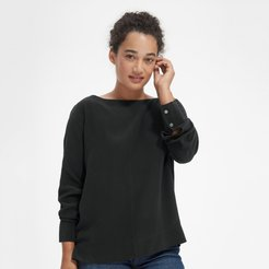 Clean Silk Boatneck Blouse Sweater by Everlane in Black, Size 2