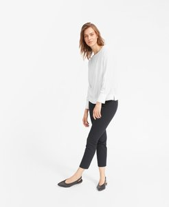 Clean Silk Boatneck Blouse Sweater by Everlane in Grey White, Size 16