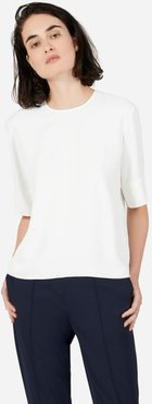 Japanese GoWeave Back-Zip T-Shirt by Everlane in White, Size 4