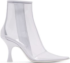 White and Transparent PVC Ankle Boots
