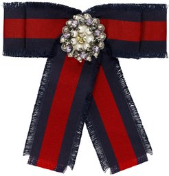 Red and Blue Striped Ribbon Brooch