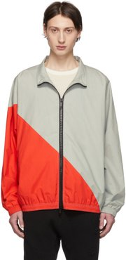 Grey and Red Cotton Motion Windbreaker Jacket