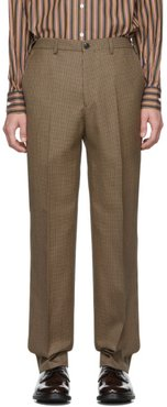 Brown and Black Wool Houndstooth Classic Trousers