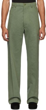 Green High-Rise Five-Pocket Trousers
