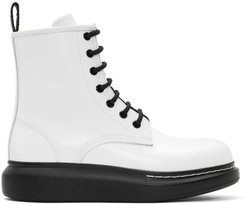White Hybrid Lace-Up Boots