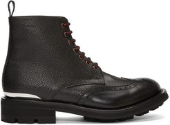 Black Pebble Grained Lace-Up Boots