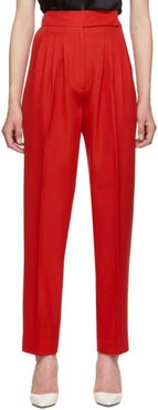 Red Marleigh Wool Pleated Trousers