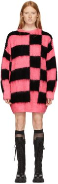 Pink and Black Check Sweater Dress