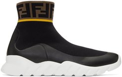 Black and White Tech Knit Forever Fendi High-Top Sneakers