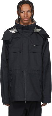 Black Open Side Windbreaker Coat