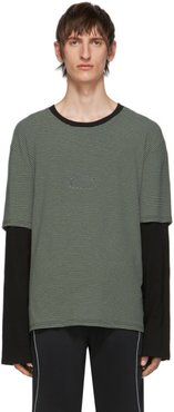 SSENSE Exclusive Grey and Black Striped Long Sleeve T-Shirt