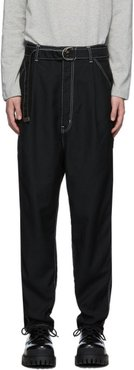 Black Heavy Twill High Waist Wide Tapered Trousers