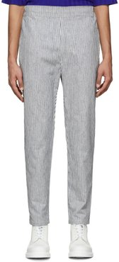 White and Navy Striped Hi Trousers