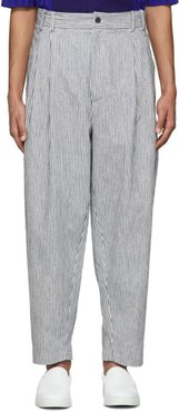 White and Navy Striped Linen Trousers