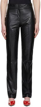 Black Pressed Leather Trousers