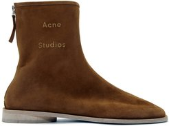 Brown Suede Branded Ankle Boots