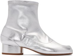 Silver Stretch Leather Tabi Ankle Boots