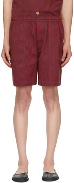 Red and Blue Micro Tent Stripe Rugby Shorts