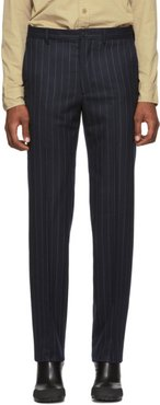 Navy and White Wool Classic Trousers