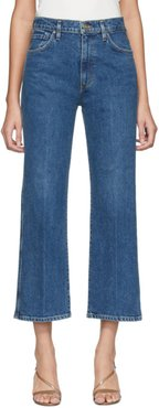 Blue Cropped High Rise Jeans
